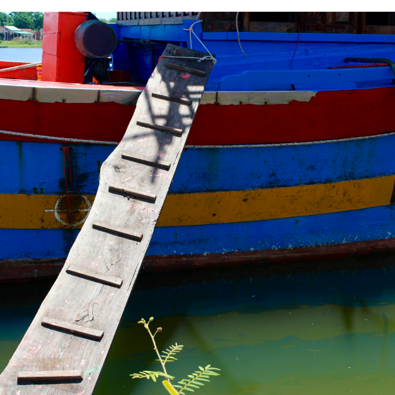 Walk the wooden plank up to a fully constructed boat.