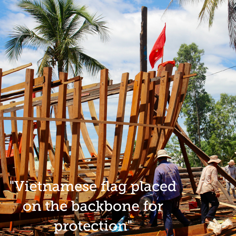 The Vietnamese flag is placed at the backbone for protection.