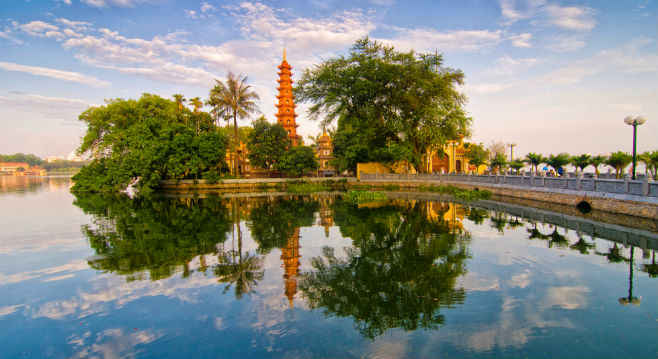 Hanoi's famous pagoda reflected on the water