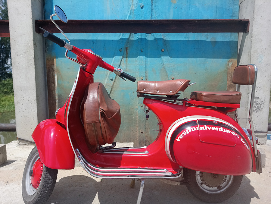 Red Vespa By Sluice Gate